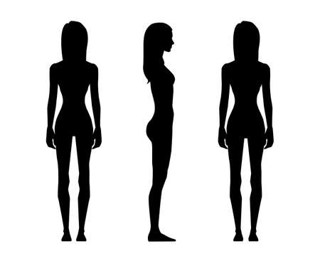 Vector illustration of three girl silhouettes on the white background.Vector cartoon realistic people illustration. Flat young woman. Front view girl, Side view girl, Back side view girl