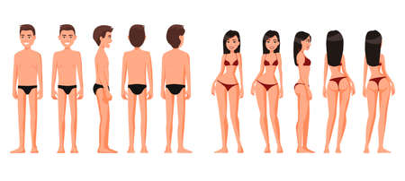 Vector illustration of woman  and man in underwear.Vector cartoon realistic people illustration. Flat young people. Front view , Side view, Back side view , Isometric view. Slim girl. Thin guy. Illusztráció