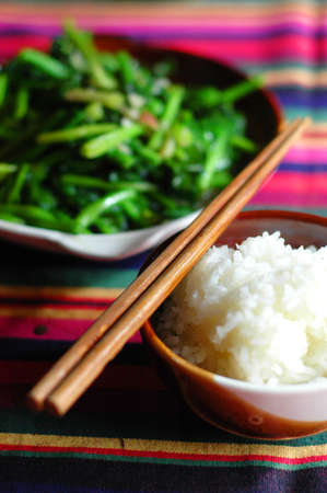 rice with fried morning glory photo