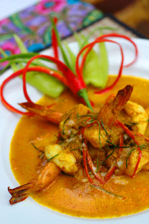 Red curry prawn photo