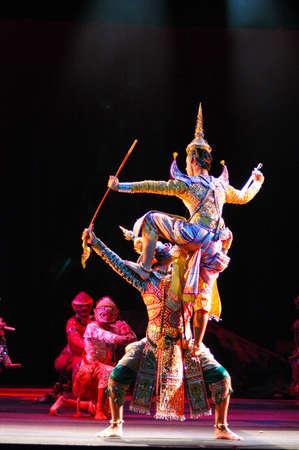 BANGKOK, THAILAND - DECEMBER 1   Khon or supreme Thai mask performance plays in a theatre on December 1, 2005 in Bangkok, Thailand