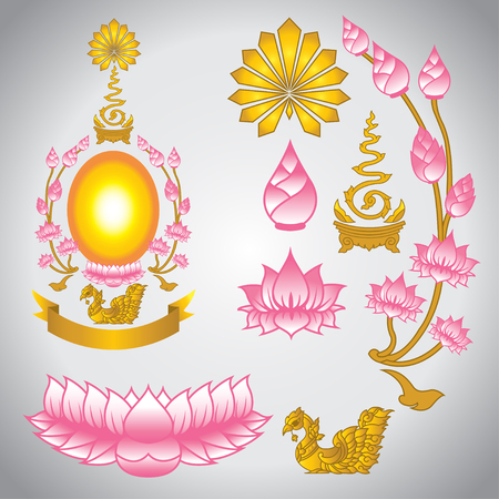 Lotus and gold ribbon, elements for Buddhism religion Illustration