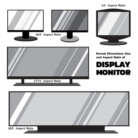 Format Dimentions size and aspect ratio of display monitors in monotone color, 2D flat design available for icons Illusztráció