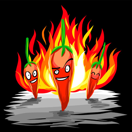 Chili peppers team standing with flame. Free style hand draw vector of red spicy chili and fire in black background Vektorové ilustrace