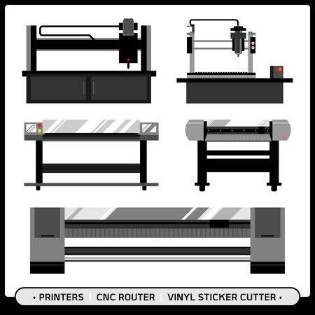Printer with CNC router of Signage shop machineries with CNC router, mini CNC, plotter, sticker cutter machine in dark theme colors