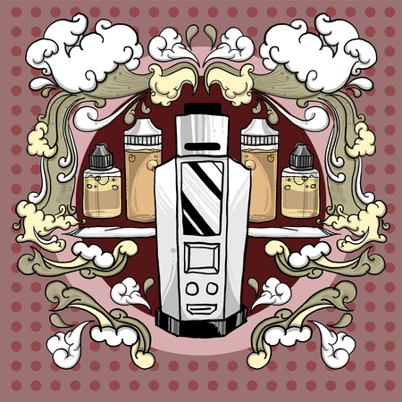 Drawing vintage style of vaporizer set with device, cloud, cotton and E-juice. Ecig or E-cig is alternative ways for quit smoke the cigarette.