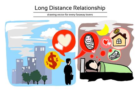 Long distance relationship of family. Husband working for money in difference time zone and Wife live at home to take care baby and house. They are trust each other for these family. Editable layers h