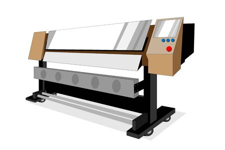 Large brown printer or plotter use for advertersing and commercial such as banner and sign. Vector with editable layers. perspective angle graphic design.