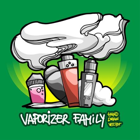 Vaporizer Electric cigarette lines art drawing in Tattoo style with custom text design. Editable vector by layers.