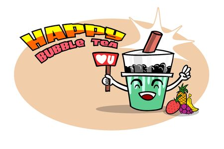 Happy Bubble or Pearl tea with fruits as strawberry, pineapple, grape and banana. Drawing vector illustration available edit by layers. Good for mascot advertisement commercial business. Illustration