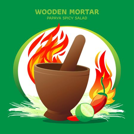 Wooden mortar with fire and ingredient, chili, lemon and sliced papaya on green background. Concept graphic design vector for papaya spicy salad. The famous menu delicious of Thailand.