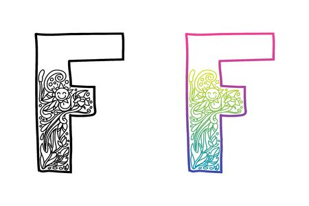 F alphabet letters. Hand drawing ornaments of Nature and florals theme. Best for cosmetic and organic products. Two styles with black and color gradients, separate layers vector illustration.