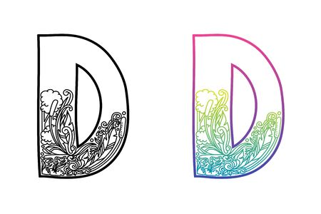 D alphabet letters. Hand drawing ornaments of Nature and florals theme. Best for cosmetic and organic products. Two styles with black and color gradients, separate layers vector illustration. Stock Illustratie