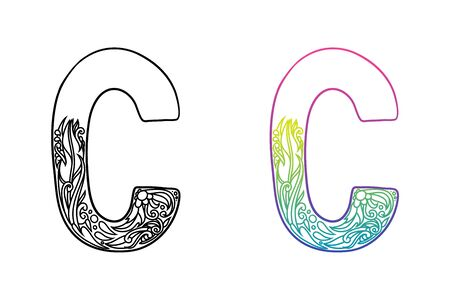 C alphabet letters. Hand drawing ornaments of Nature and florals theme. Best for cosmetic and organic products. Two styles with black and color gradients, separate layers vector illustration.