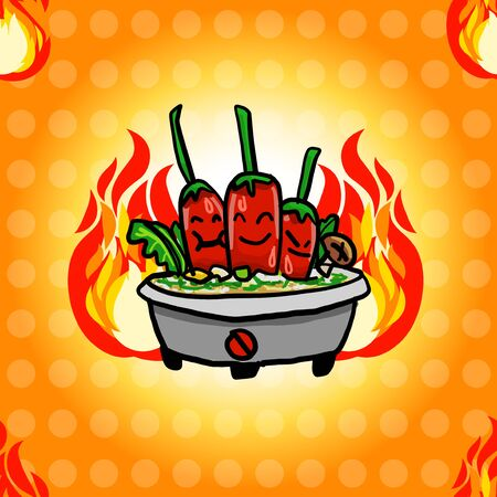Seamless pattern of Spicy hot pot and flame with light dots. Brush drawing vector illudtration for cuising or cooking graphic design as commercial advertising.  イラスト・ベクター素材