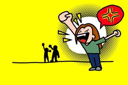 Anger shout with angry symbol bubble as speech. hand draw cartoon or comic with yellow background. Layers vector illustration