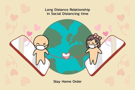 Relation longue distance se connectant par smartphone en temps de distanciation sociale. Connexion dans le monde entier, même dans un pays différent avec la commande Rester à la maison.