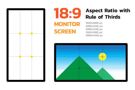 18 by 9 Monitor Screen Aspect Ratio with Rule of Thirds. Most famous dimension of devices display. Demo landscape image and pixel size. Layers Vector illustration.