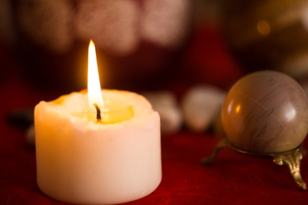 witchery: Esoteric atmosphere created with candles,magic stones