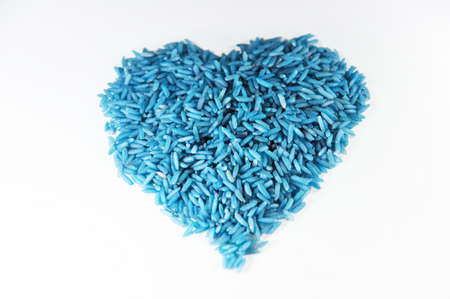 blue rice of heart isolate on white background Stock Photo