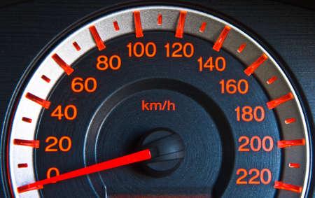 orange color of Speed meter in car photo