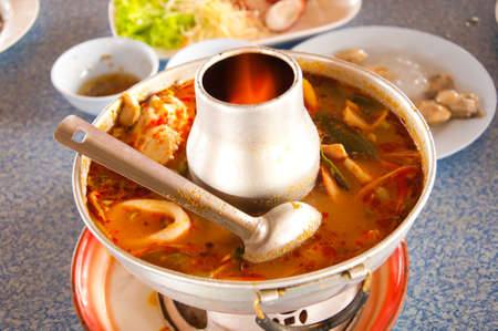 hot pot: spicy Seafood Soup with Chili Pase Stock Photo
