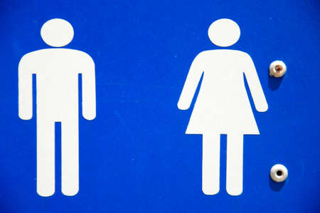 Blue square Recreational Sign with the international symbol for Restroom displayed