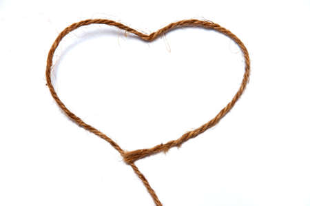 Heart curved with thick string isolate on white background