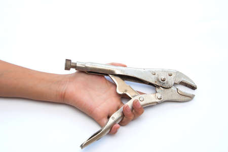 Hand holds a wrench isolate on the white background  Stock Photo - 10940370
