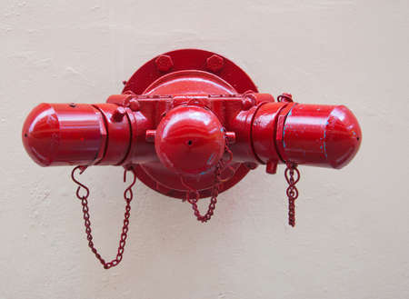Round red fire sprinkler  Stock Photo