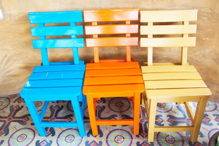 Colorful wooden chair photo