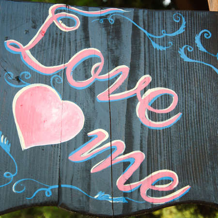 Chalk drawing - love me photo
