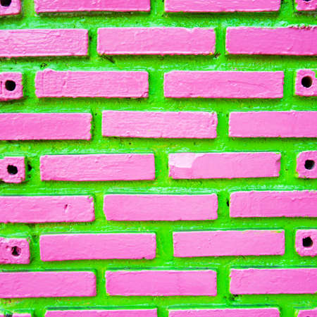 Green and pink  brick wall background Stock Photo - 12322751