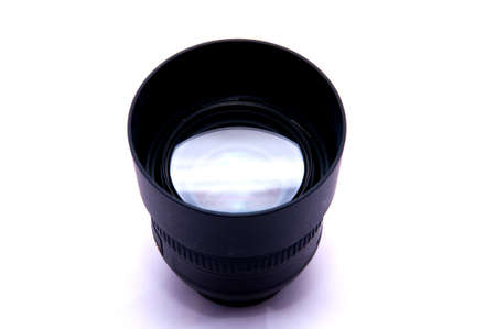 Lens with hood isolated on white background  photo