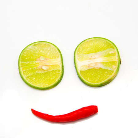 digest: Red chili and lime as a mouth isolate on white background