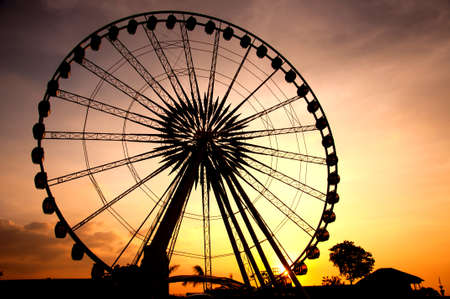 county fair: Silhouette of giant ferris wheel