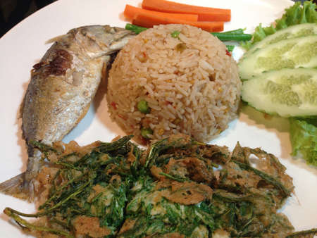 Fish with rice, thai food
