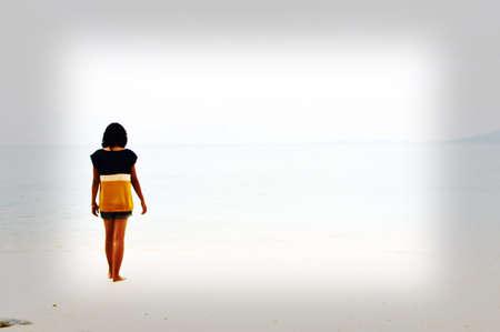 Girl alone on the beach