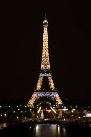 Paris, France, 12 March 2011: Eiffel Tower illuminated at night Editorial