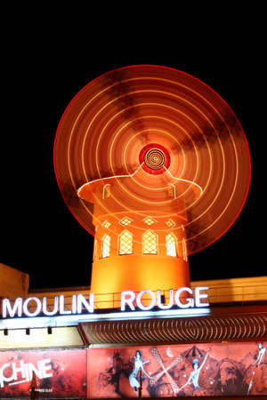 Paris, France, 13 March 2011: Night external view of the Moulin Rouge