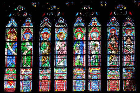 Paris, France, 9 March 2011: Stained glass window of the Cathedral of Notre Dame de Paris