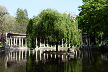 View of the Naumachie in Parc Monceau in Paris