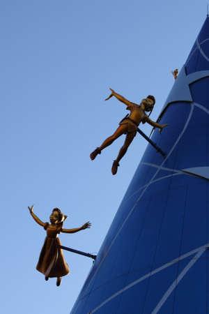 Paris, France, 9 April 2011: Peter Pan flying at the Walt Disney Studios in Paris