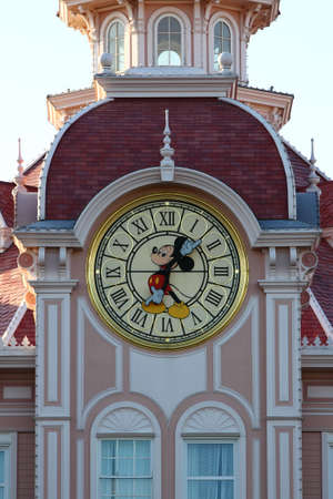 Paris, France, 9 April 2011: Mickey Mouse Clock at Mickey Mouse Hotel in Disneyland Paris Stock Photo - 9726111