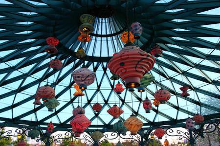 Paris, France, 9 April 2011: Mad Hatter's Tea Cups in Disneyland Paris