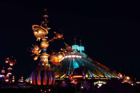 disneyland: Paris, France, 9 April 2011: Space Mountain Mission 2 at night in Disneyland Paris