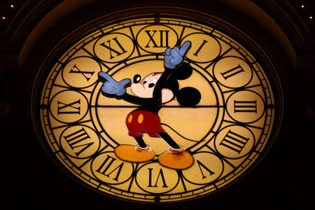 mickey: Paris, France, 9 April 2011: Mickey Mouse Clock at Mickey Mouse Hotel in Disneyland Paris