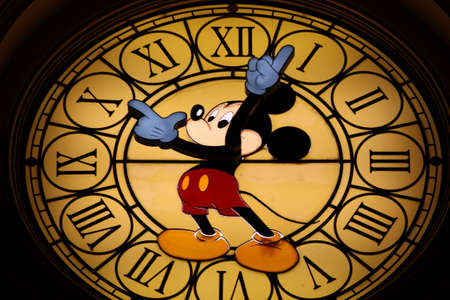 Paris, France, 9 April 2011: Mickey Mouse Clock at Mickey Mouse Hotel in Disneyland Paris
