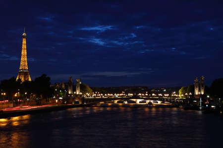 Paris, France, 9 June 2011: Eiffel Tower illuminated at night Stock Photo - 9871110