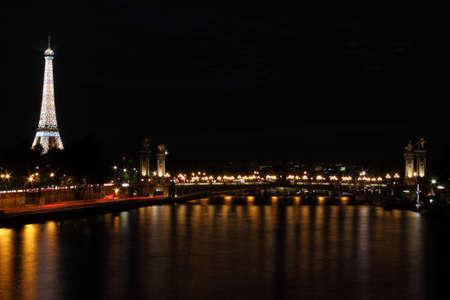 Paris, France, 9 June 2011: Eiffel Tower illuminated at night